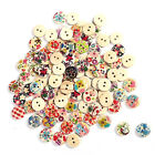 Natural Wooden Round Buttons With 2 Hole Love Crafts Sewing Scrapbook DIY Cards