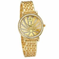 Men's Womens Luxury Gold Tone Full Rhinestone Stainless Steel Quartz Wrist Watch