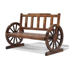 Wagon Wheel Garden Bench Park Wooden Outdoor Patio Chair