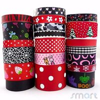 20Yards Assorted Grosgrain Ribbon Lot 20 Styles 9--38mm Black Red Theme Craft