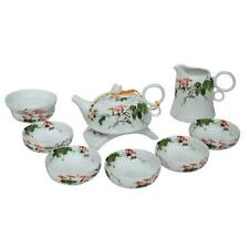 More details for chinese hand painted bone china tea set - morning glory - gift boxed