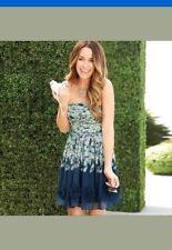 Lauren Conrad Blue Floral Textured Strapless Rouched Bodice Dress SZ10 NWT