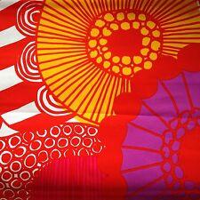 "Marimekko Finland Siirtolapuutarha orange pink red pillow cover hand made 20x20"""