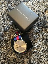NEW IN BOX - RIVER ISLAND STRIPE STRAP WATCH - NEEDS A BATTERY
