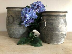 zinc flower plant pots set of 2 garden    H23cm Dia.22cm     H19.5cm Dia.17cm