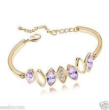 18K Rose Gold Plated 13mm Purple Bangle Bracelet Use SWAROVSKI CRYSTAL Purple