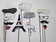 Paris Party Photo Booth Props- Black and White. Made with 100 % Glitter Paper!