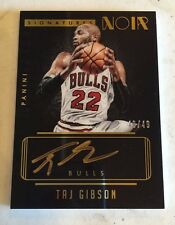 2014-15 Panini Noir Autographs Noir Color #52 Taj Gibson #ED /49 BULLS