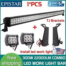 52inch 300W LED Light Bar+Mount Brackets Fits Jeep Wrangler TJ 97-06+2X 4'' Lamp