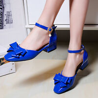 Women Mary Janes Pumps Shoes Bow Tie Ankle Strap Block Low Heel Dress Sandals