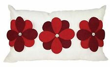 One Duck Two Gerbera rectangle cushion cover with red felt applique flowers