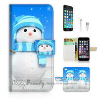 ( For iPhone 7 ) Wallet Case Cover P1728 Snowman
