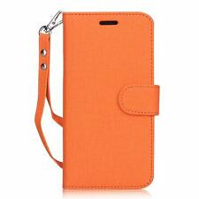 iPhone XR Wallet Case Premium Canvas Flip Folio Stand Cover Card Pockets Orange