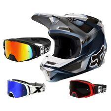 Fox V1 Motif Crosshelm MX Helm Motocross Enduro blau grau TWO-X Crossbrille