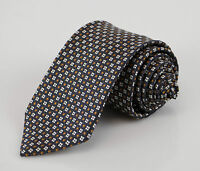 New ERMENEGILDO ZEGNA Blue W/ White Floral Pattern 100% Silk Neck Tie $205