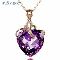 Rose Gold Heart CZ Purple Crystal Necklace Xmas Gift For Her Wife Daughter Women