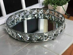 20 cm Round Diamante Mirrored Candle Plate Big Jewel Decorative Metal Glass Tray