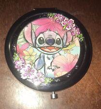 Disney Lilo & Stitch Compact Mirror Silver-Tone Floral Design