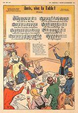 CHANSON POPULAIRE / VIVE LA TABLE / ALSACE / ILLUSTRATION DE ? 1952