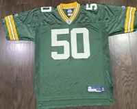 Green Bay Packers NFL Football #50 AJ Hawk Jersey Mens Sz Large Reebok Wisconsin