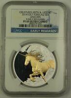 2014 Tokelau Gilt Silver $5 Unicorn Early Releases Coin NGC PR-69 Ultra Cameo