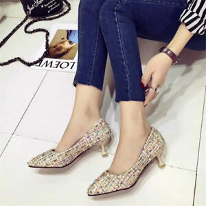 Women Kitten Mid Heels Closed Pointed Toe Pumps Mixed Color Slip On Casual Shoes