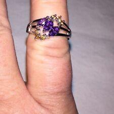 $127 Amethyst &peach Morganite Set In 925 Silver Ring Size 7