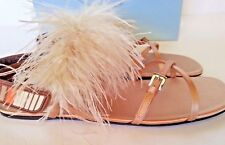 New PRADA Feather Embellished Crisscross Flat Satin Slingback Sandals 38.5/8.5