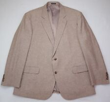 Stafford Sport Coat 48R Tan Beige Two Button Linen Cotton Mens Size Side Vents