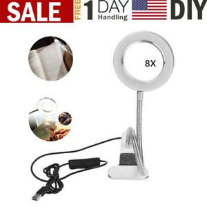 LED Lamp 8X Magnifying Glass Magnifier Desk Table Light Reading Lamp W/ Clamp US