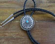 Vintage Turquoise Sterling Silver Concho Bolo Tie