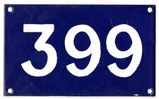 Old Australian used house number 399 door gate enamel metal sign in French blue
