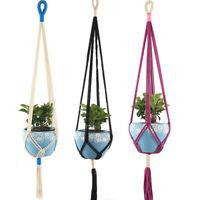 Macrame Plant Hanger Vintage Rope Basket Outdoor Pot Holder Flower Garden~