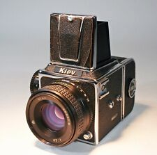 Kiev  6X6 SLR w 80mm 2.8 Lens, 2 12 Exp Film Backs + Polaroid Back - All EXC