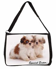 'Special Sister' Shih-Tzu Dogs Large Black Laptop Shoulder Bag School, AD-SZ10SB