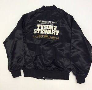 Mike Tyson Vs Stewart Vintage Boxing Match Fight Jacket Black Size M Trump Plaza