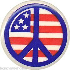 1960s Vietnam War Era Peace Sign Over U.S. Flag Button (2917)