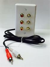 CERTICABLE RCA SPLITTER BOX AUDIO STEREO WALL JACK OUTLET WITH PIGTAIL CABLE
