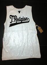 New Womens Designer True Religion Jeans White Sequin Tee Shirt Top L Logo NWT