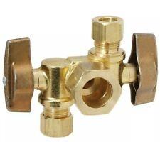 """Brasscraft KTCR1901DVX-R1 1/2"""" x 3/8"""" x 3/8"""" O.D. Comp Brass Dual Outlet Stop"""