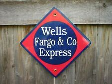 WELLS FARGO & CO EXPRESS PORCELAIN-COATED RAILROAD SIGN
