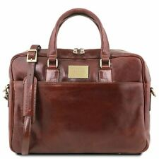 Urbino - Leather Laptop Briefcase 2 Compartments With Front Pocket Made In Italy