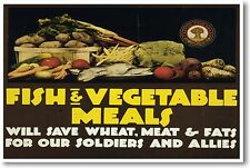 Fish and Vegetable Meals - NEW Vintage Reprint POSTER