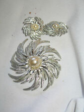 Silver Colored Pin with Clip On Earrings Sarah Cov
