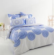 5 Pce VERMONT Blue Reversible QUEEN Quilt Doona Cover Set 100% COTTON 300TC