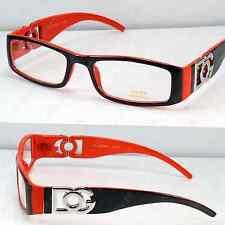 New DG Clear Lens Brown Orange Frame Unisex Rectangular Designer Glasses Nerdy