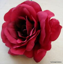 "Large 4 1/2"" Red Silk Rose Flower Hair Clip, Wedding, Prom, Dance, Bridal"