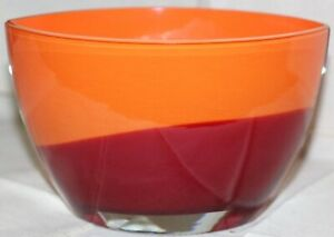 """Evolution by Waterford Crystal Oval Bowl Amber and Red 8"""""""