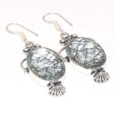 "Sterling Silver Plated Earrings 2.4"" Jewellery Q713 Black Rutile Quartz & 925"