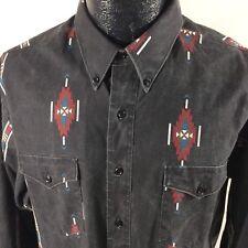 Vtg 90's Wrangler Men Black SOUTH WESTERN Cowboy BRUSHPOPPER RANCH Shirt 17.5-36